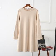 新款中长款打底衫女宽松大码纯色长袖加厚连衣裙大摆T恤