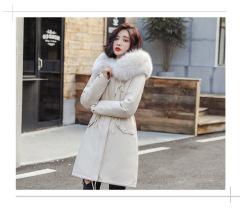 2019冬季新款毛领中长款棉衣女韩版羊羔毛内村羽绒棉服女保暖棉袄