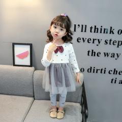 菲儿小屋  女宝宝裙套装 圆点裙套装女童套装 2020春季新款长袖宝宝套装
