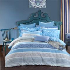 VIPLIFE家纺 简约条纹全棉四件套 纯棉床单被套高端13372 40S床品套件-品味生活