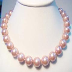 10mm奢华粉红色贝宝珠项链套装