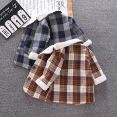 新款儿童中长款外套 秋冬季毛绒保暖儿童上衣 韩版格子外套男童装