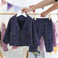 菲儿小屋   韩版涤棉 1~3岁婴幼童潮范加棉西装两件套 2019秋冬加厚三色