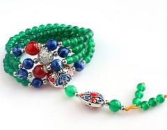 琳福珠宝 翠色倾城绿玛瑙长款项链饰品