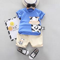 夏季新款儿童套装 奶牛恐龙印花长尾巴童趣可爱童装圆领T恤