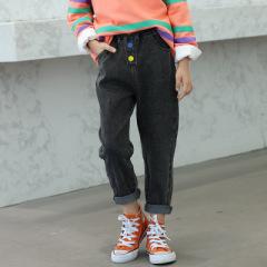 女童彩虹扣子牛仔裤 中大童装秋款儿童裤子 2020秋新款女童弹力牛仔裤