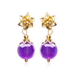 芭法娜 莹莹紫梦 天然紫水晶时尚白领耳钉