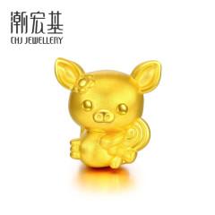 潮宏基 黄金足金 猪猪-甜美猪 金猪黄金转运珠手链 送手绳颜色随机