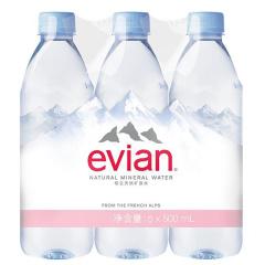 法国进口 依云(evian)天然矿泉水  500ml六连包*4组 整箱装