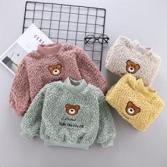 2020冬季新款儿童卫衣 圆领加绒保暖长袖儿童上衣 卡通潮流童装