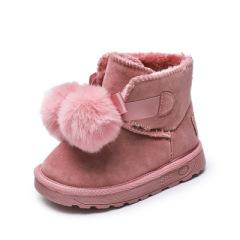 儿童雪地靴2019年秋冬新款女童短靴皮革拼接保暖大棉童鞋防滑冬季
