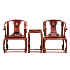 乾隆御匠大红酸枝皇宫椅三件套
