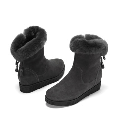 达芙妮(DAPHNE)欧美时尚牛反绒百搭兔毛雪地靴1016608027