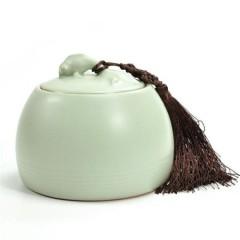 金镶玉 茶具配件 年年有余茶叶罐 汝瓷花茶罐茶具汝窑密封储藏罐