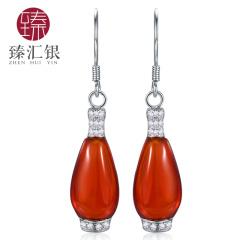 臻汇银 925银玛瑙花瓶耳环