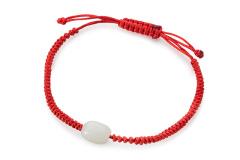 玉柜坊和田玉红绳编织手链1颗