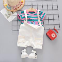 2020儿童夏季新款男童韩版卡通印花猫咪短袖背带裤两件套童装