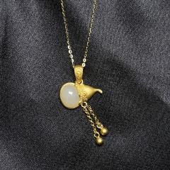S925银和田玉套链-葫芦