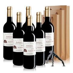 法国红酒巴菲太太波尔多干红葡萄酒六支装赠礼袋开瓶器