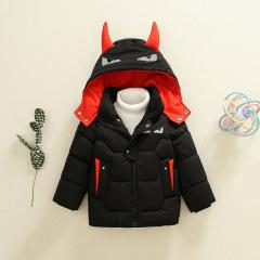 韩版新款 现货1~3岁连帽可爱犄角蝙蝠加厚童棉衣 2019年冬季外套