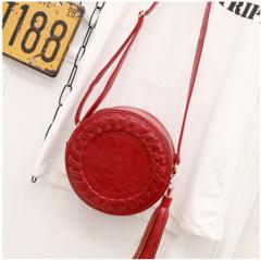 春夏季新款韩版潮流流苏小圆包时尚创意单肩斜跨圆饼小包潮流女包