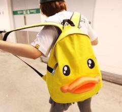新款韩版立体个性鸭子双肩包 可爱立体鸭嘴背包帆布学生书包