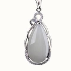 琳福珠宝 玲珑水滴S925银镶嵌和田白玉项链吊坠饰品