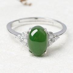 琳福珠宝 S925纯银镶嵌和田碧玉戒指  简约和田玉银戒指