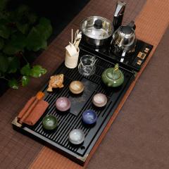 金镶玉功夫茶具套装 七彩冰裂柯木 实木茶盘茶具茶壶茶杯电磁炉整套