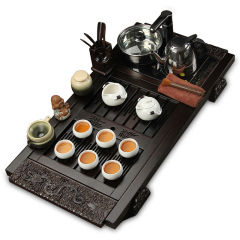 金镶玉 祥龙月白 柯木实木茶盘陶瓷茶具电磁炉整套