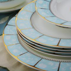 景德镇源产地韩式翡翠镶边58头骨瓷套装餐具 居家新典范