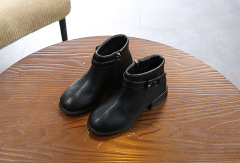 儿童短靴2019年秋冬新款女童靴子蝴蝶结低筒短靴防滑学生鞋侧拉链