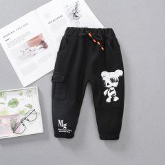 2020童装春款新品 卡通动物字母图案休闲长裤