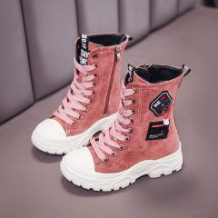 JUGO女童中筒靴2020年秋冬新款靴子侧拉链儿童潮二棉保暖童鞋防滑三色