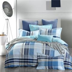 VIPLIFE家纺 简约条纹全棉四件套 纯棉床单被套高端13372 40S床品套件--品格节奏