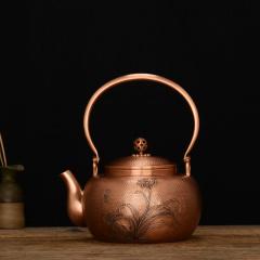 中艺盛嘉孟德仁宣寿紫铜壶礼品养生煮茶壶烧水壶纯手工铜壶
