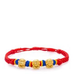芭法娜 三不猴 3D硬金黄金足金立体手工编织转运珠手链 可调节长短 新奇特 金重至少2.66g