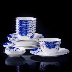 景德镇经典青花瓷餐具套装国色天香56头5A级家用骨瓷套装送礼福利之佳品